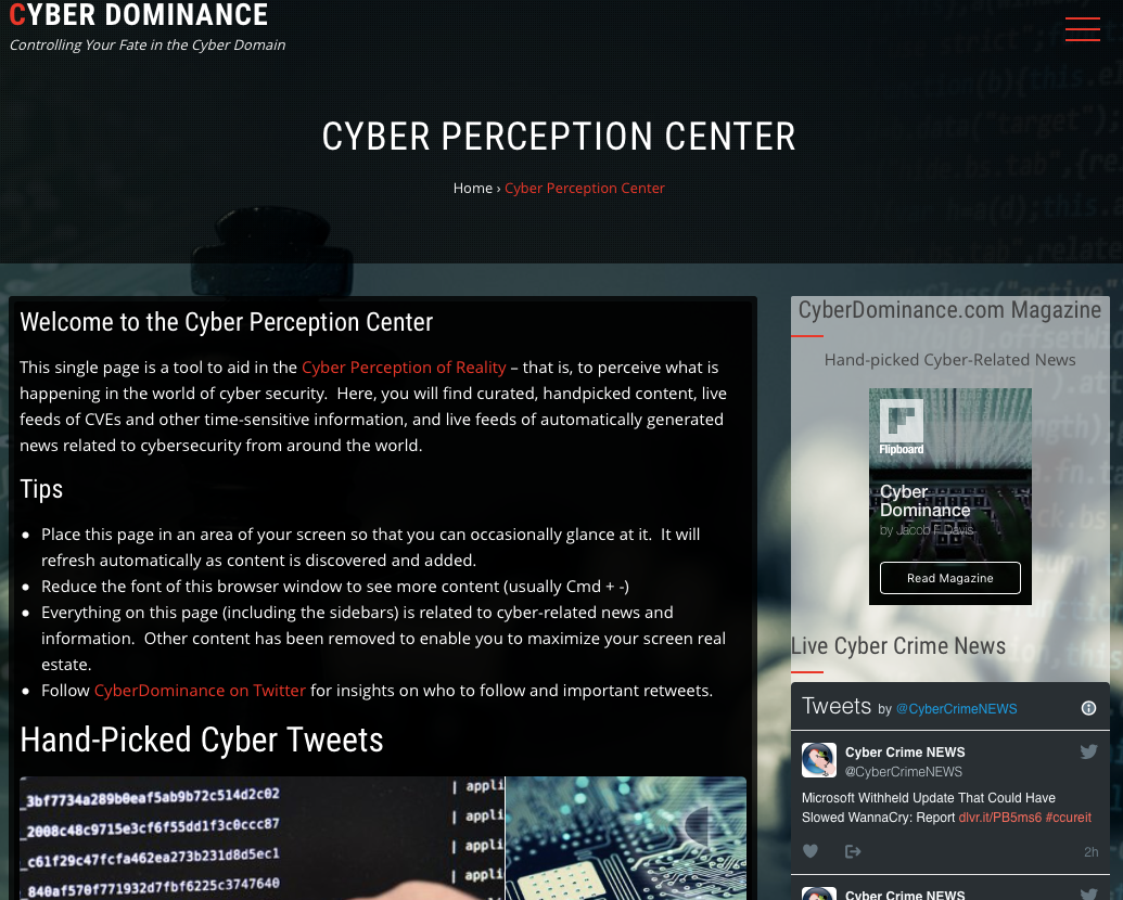 Cyber Perception Center Screenshot